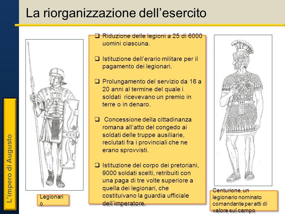 L'impero di Augusto La riorganizzazione dell'esercito  Riduzione delle legioni a 25 di 6000 uomini ciascuna.