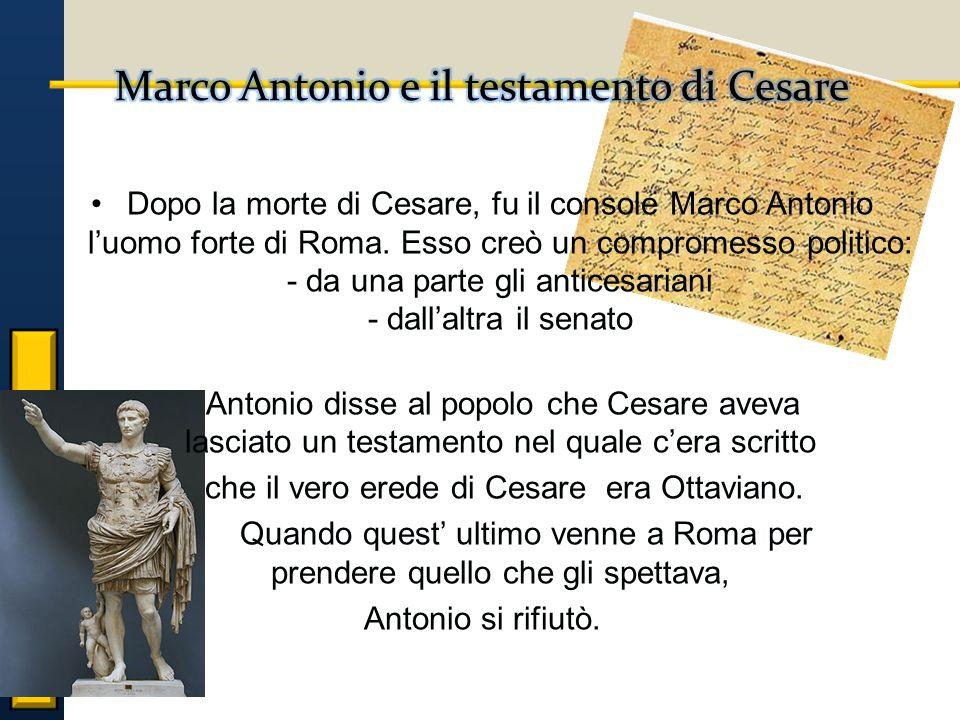 Dopo la morte di Cesare, fu il console Marco Antonio l'uomo forte di Roma.