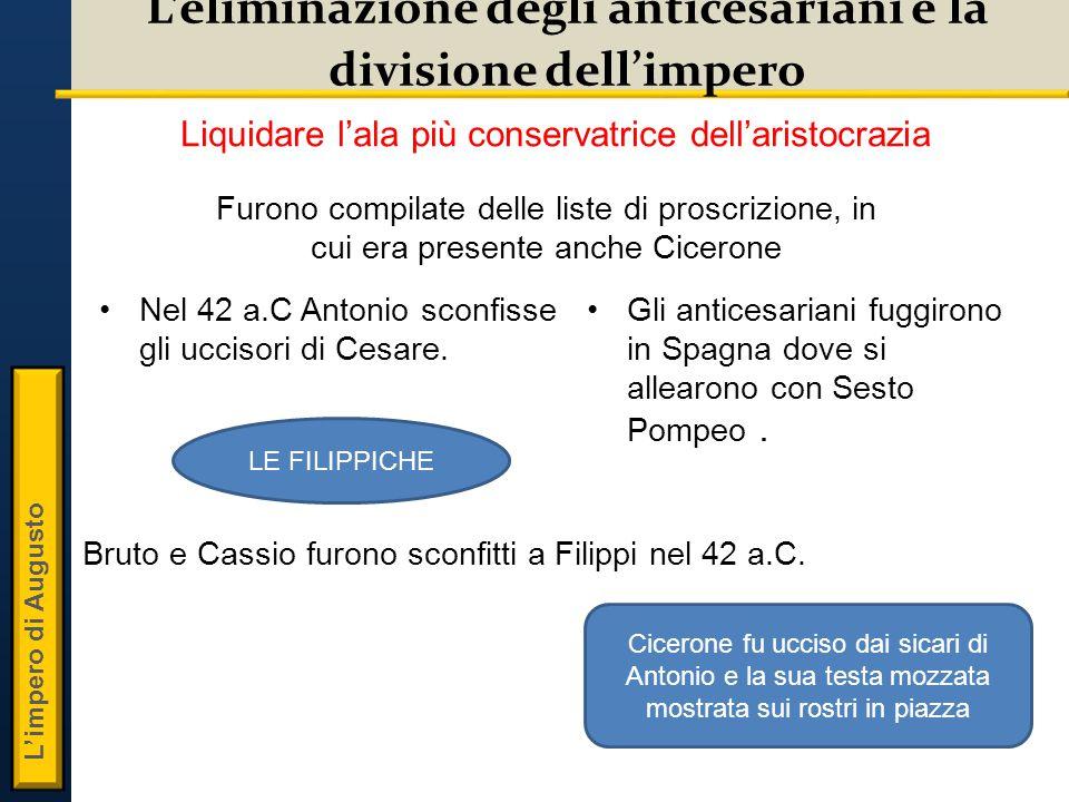 L'impero di Augusto L'eliminazione degli anticesariani e la divisione dell'impero Nel 42 a.C Antonio sconfisse gli uccisori di Cesare.