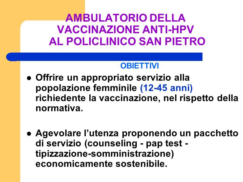 OBIETTIVI Offrire un appropriato servizio alla popolazione femminile (12-45 anni) richiedente la vaccinazione, nel rispetto della normativa. Agevolare