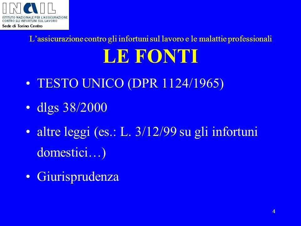 4 L'assicurazione contro gli infortuni sul lavoro e le malattie professionali LE FONTI TESTO UNICO (DPR 1124/1965) dlgs 38/2000 altre leggi (es.: L. 3