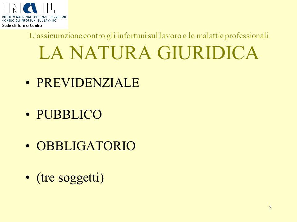 5 L'assicurazione contro gli infortuni sul lavoro e le malattie professionali LA NATURA GIURIDICA PREVIDENZIALE PUBBLICO OBBLIGATORIO (tre soggetti)
