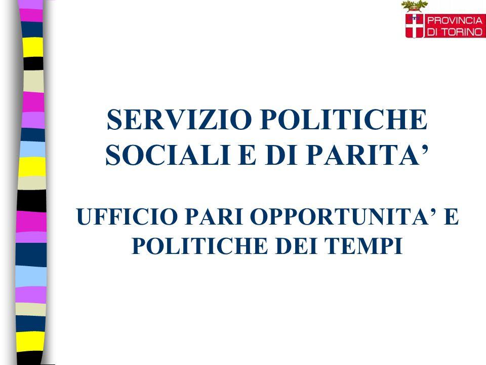 SERVIZIO POLITICHE SOCIALI E DI PARITA' UFFICIO PARI OPPORTUNITA' E POLITICHE DEI TEMPI