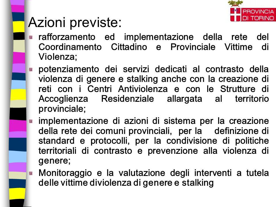 Azioni previste: rafforzamento ed implementazione della rete del Coordinamento Cittadino e Provinciale Vittime di Violenza; potenziamento dei servizi