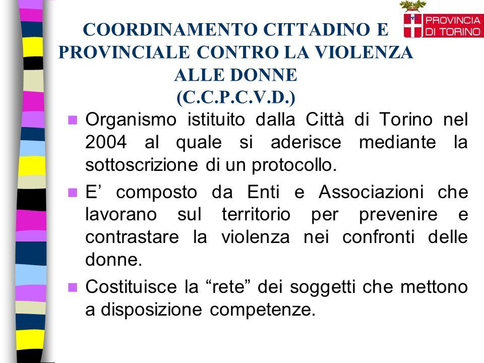 COORDINAMENTO CITTADINO E PROVINCIALE CONTRO LA VIOLENZA ALLE DONNE (C.C.P.C.V.D.) Organismo istituito dalla Città di Torino nel 2004 al quale si ader