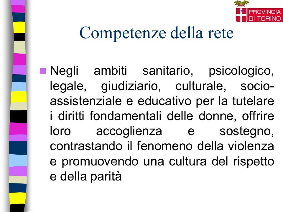 Competenze della rete Negli ambiti sanitario, psicologico, legale, giudiziario, culturale, socio- assistenziale e educativo per la tutelare i diritti