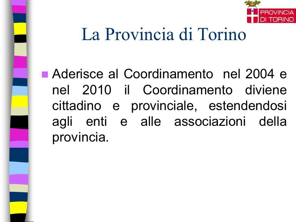 La Provincia di Torino Aderisce al Coordinamento nel 2004 e nel 2010 il Coordinamento diviene cittadino e provinciale, estendendosi agli enti e alle associazioni della provincia.