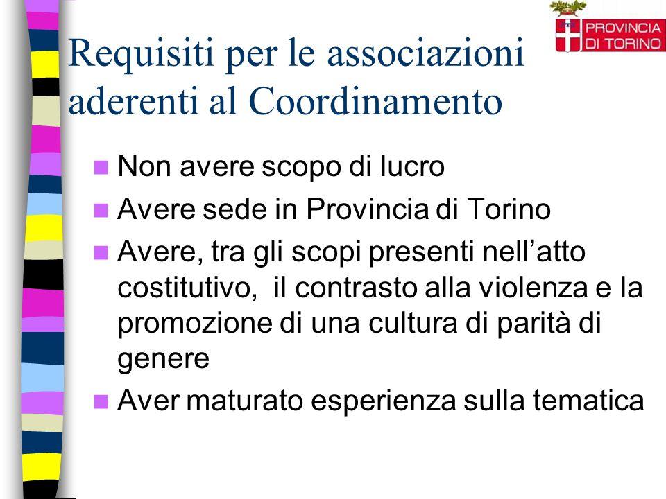 Requisiti per le associazioni aderenti al Coordinamento Non avere scopo di lucro Avere sede in Provincia di Torino Avere, tra gli scopi presenti nell'