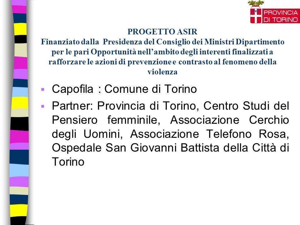 PROGETTO ASIR Finanziato dalla Presidenza del Consiglio dei Ministri Dipartimento per le pari Opportunità nell'ambito degli interenti finalizzati a ra