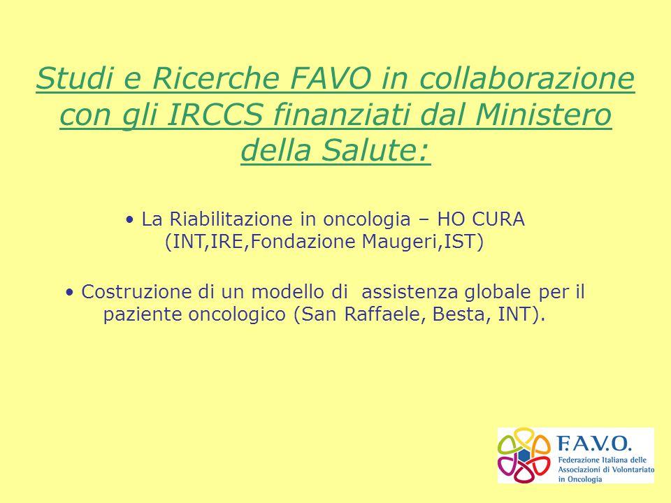 INT Milano IST Genova Fondazione Maugeri Pavia Rete Oncologica del Piemonte e della Valle d'Aosta Lega Italiana per la Lotta contro i Tumori Rete dei Registri Tumori SIMFER AIOM 1.