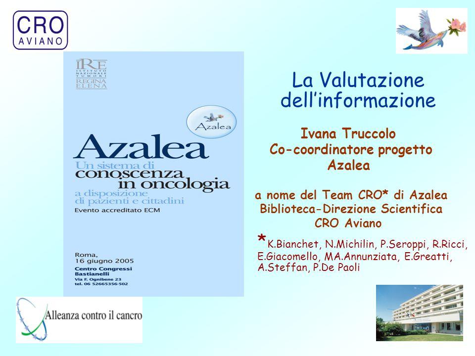1 Ivana Truccolo Co-coordinatore progetto Azalea a nome del Team CRO* di Azalea Biblioteca-Direzione Scientifica CRO Aviano La Valutazione dell'inform