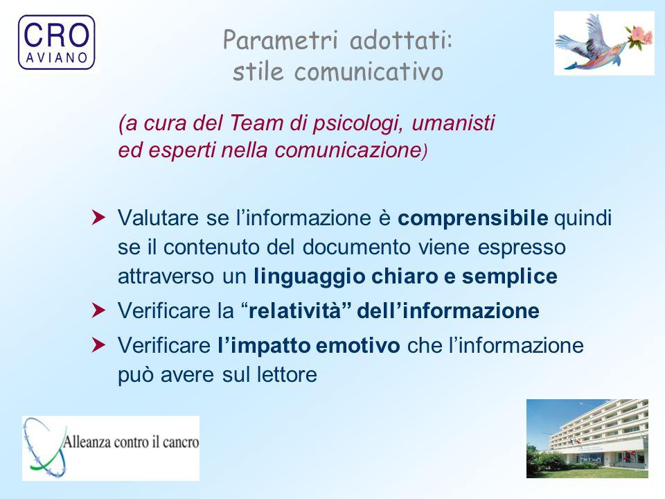 25 Parametri adottati: stile comunicativo  Valutare se l'informazione è comprensibile quindi se il contenuto del documento viene espresso attraverso