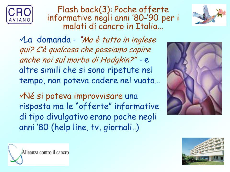 34 Flash back(3): Poche offerte informative negli anni '80-'90 per i malati di cancro in Italia...
