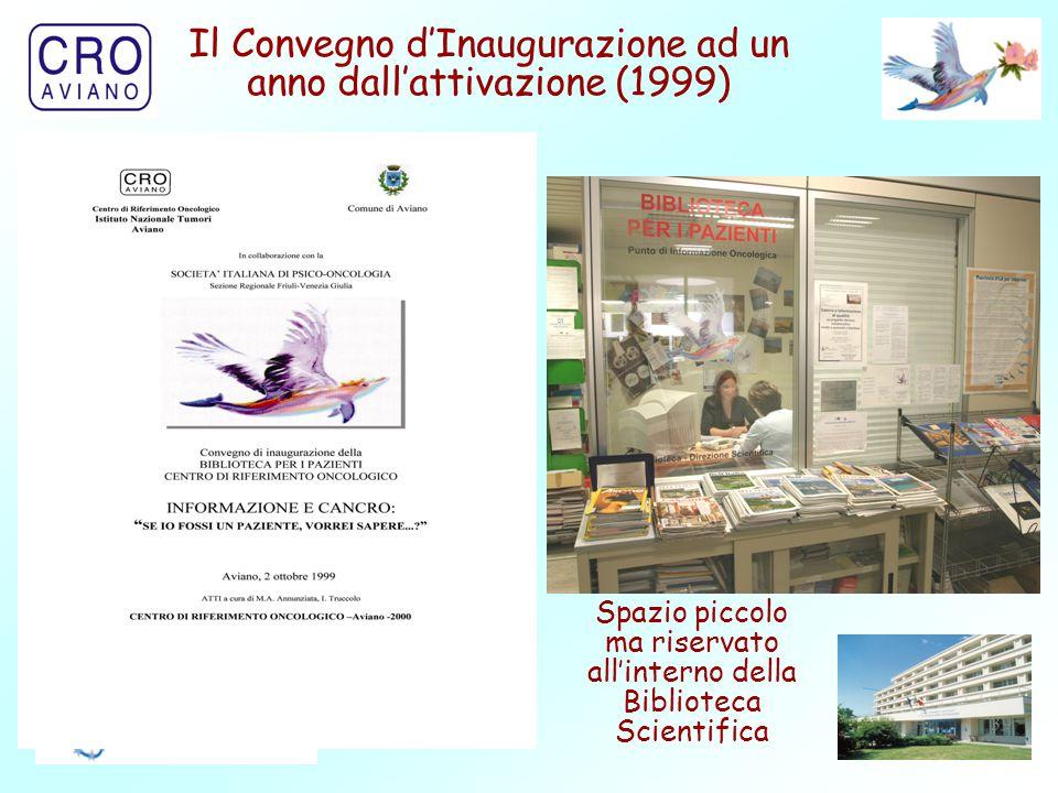39 Il Convegno d'Inaugurazione ad un anno dall'attivazione (1999) Spazio piccolo ma riservato all'interno della Biblioteca Scientifica