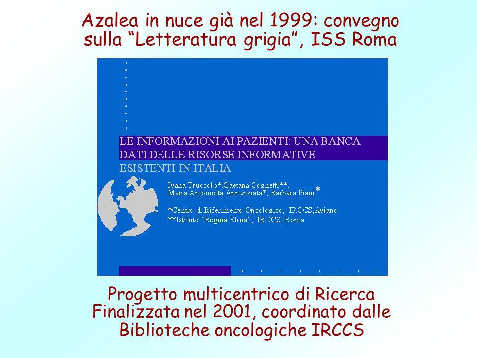 Azalea in nuce già nel 1999: convegno sulla Letteratura grigia , ISS Roma Progetto multicentrico di Ricerca Finalizzata nel 2001, coordinato dalle Biblioteche oncologiche IRCCS