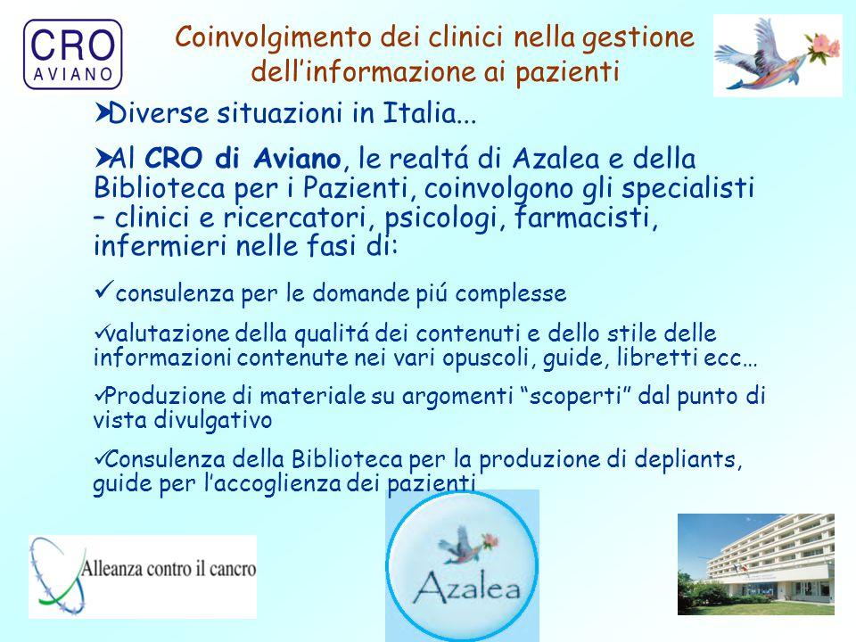 43 Coinvolgimento dei clinici nella gestione dell'informazione ai pazienti  Diverse situazioni in Italia...  Al CRO di Aviano, le realtá di Azalea e