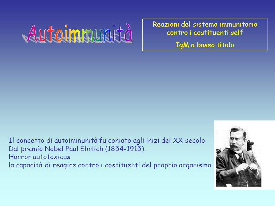 Il concetto di autoimmunità fu coniato agli inizi del XX secolo Dal premio Nobel Paul Ehrlich (1854-1915).