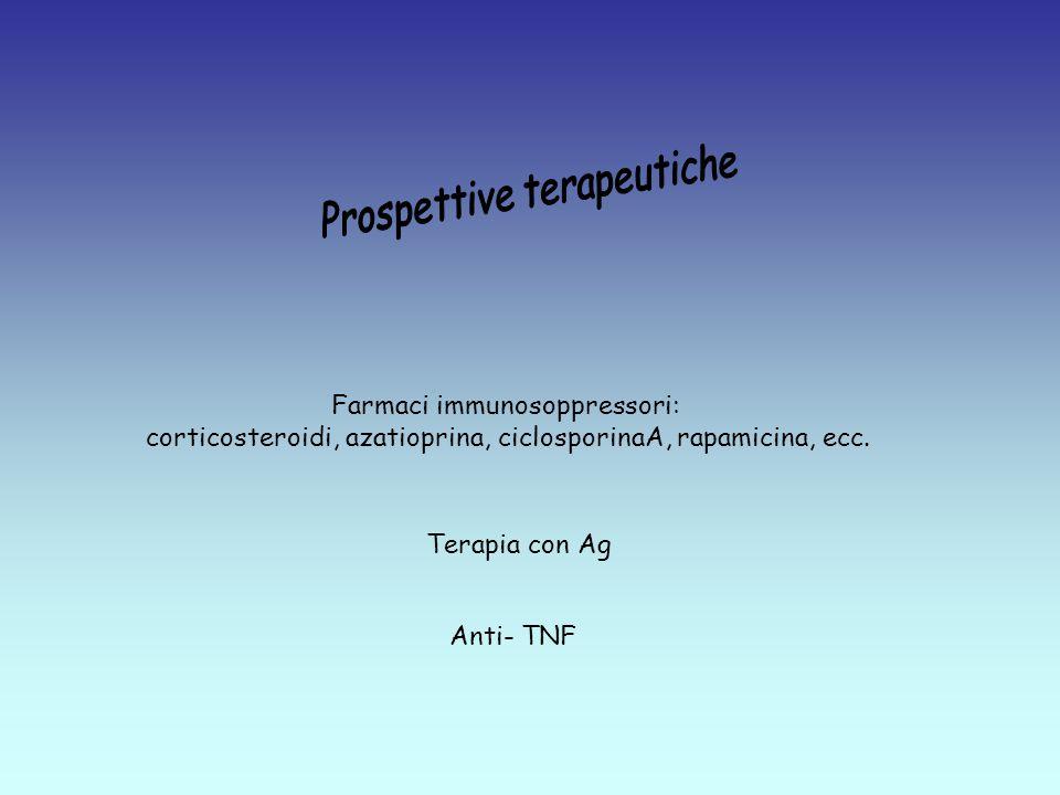 Farmaci immunosoppressori: corticosteroidi, azatioprina, ciclosporinaA, rapamicina, ecc.