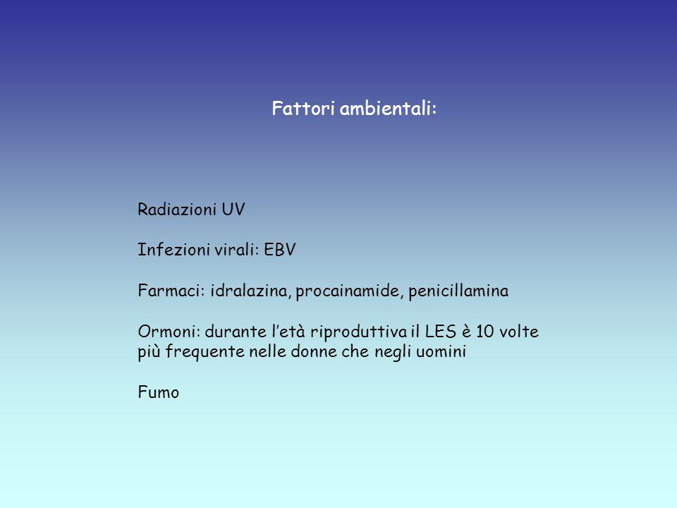 Fattori ambientali: Radiazioni UV Infezioni virali: EBV Farmaci: idralazina, procainamide, penicillamina Ormoni: durante l'età riproduttiva il LES è 10 volte più frequente nelle donne che negli uomini Fumo