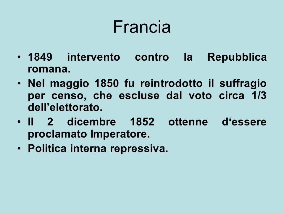 Francia 1849 intervento contro la Repubblica romana. Nel maggio 1850 fu reintrodotto il suffragio per censo, che escluse dal voto circa 1/3 dell'elett