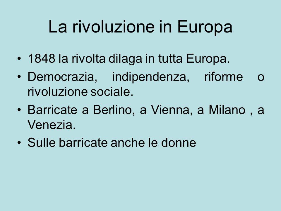 La rivoluzione in Europa 1848 la rivolta dilaga in tutta Europa. Democrazia, indipendenza, riforme o rivoluzione sociale. Barricate a Berlino, a Vienn