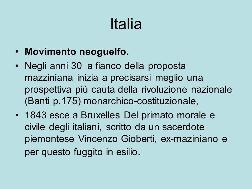 Italia Movimento neoguelfo. Negli anni 30 a fianco della proposta mazziniana inizia a precisarsi meglio una prospettiva più cauta della rivoluzione na