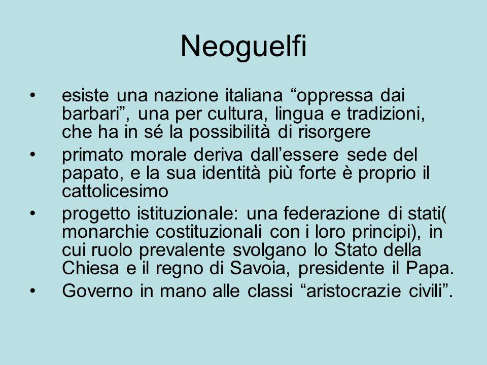 """Neoguelfi esiste una nazione italiana """"oppressa dai barbari"""", una per cultura, lingua e tradizioni, che ha in sé la possibilità di risorgere primato m"""