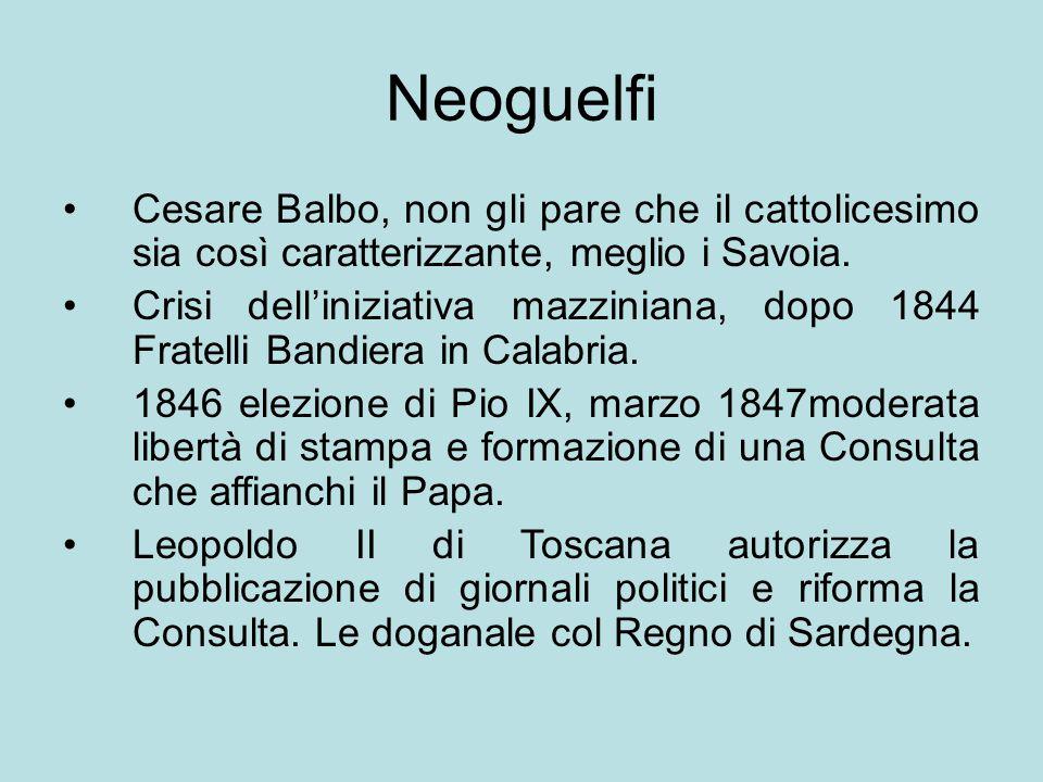 Neoguelfi Cesare Balbo, non gli pare che il cattolicesimo sia così caratterizzante, meglio i Savoia. Crisi dell'iniziativa mazziniana, dopo 1844 Frate