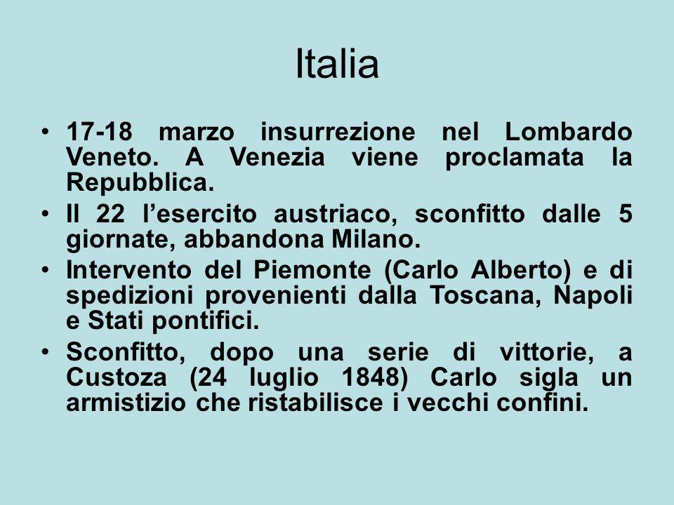 Italia 17-18 marzo insurrezione nel Lombardo Veneto. A Venezia viene proclamata la Repubblica. Il 22 l'esercito austriaco, sconfitto dalle 5 giornate,