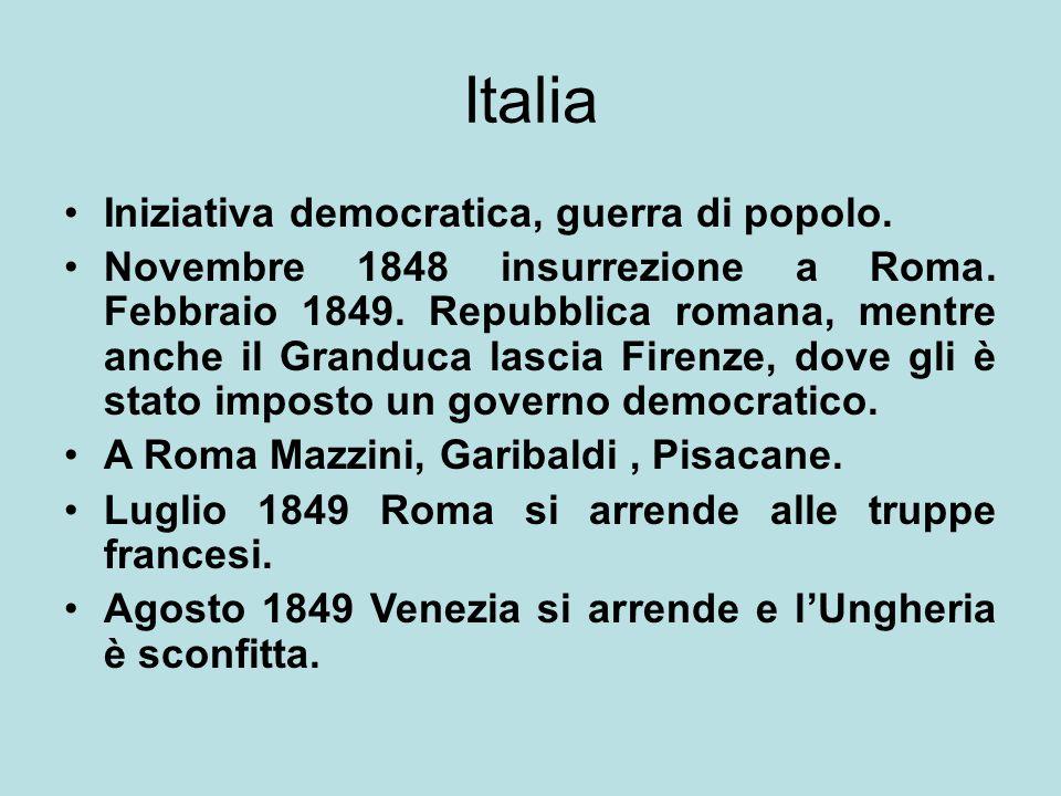 Italia Iniziativa democratica, guerra di popolo. Novembre 1848 insurrezione a Roma. Febbraio 1849. Repubblica romana, mentre anche il Granduca lascia