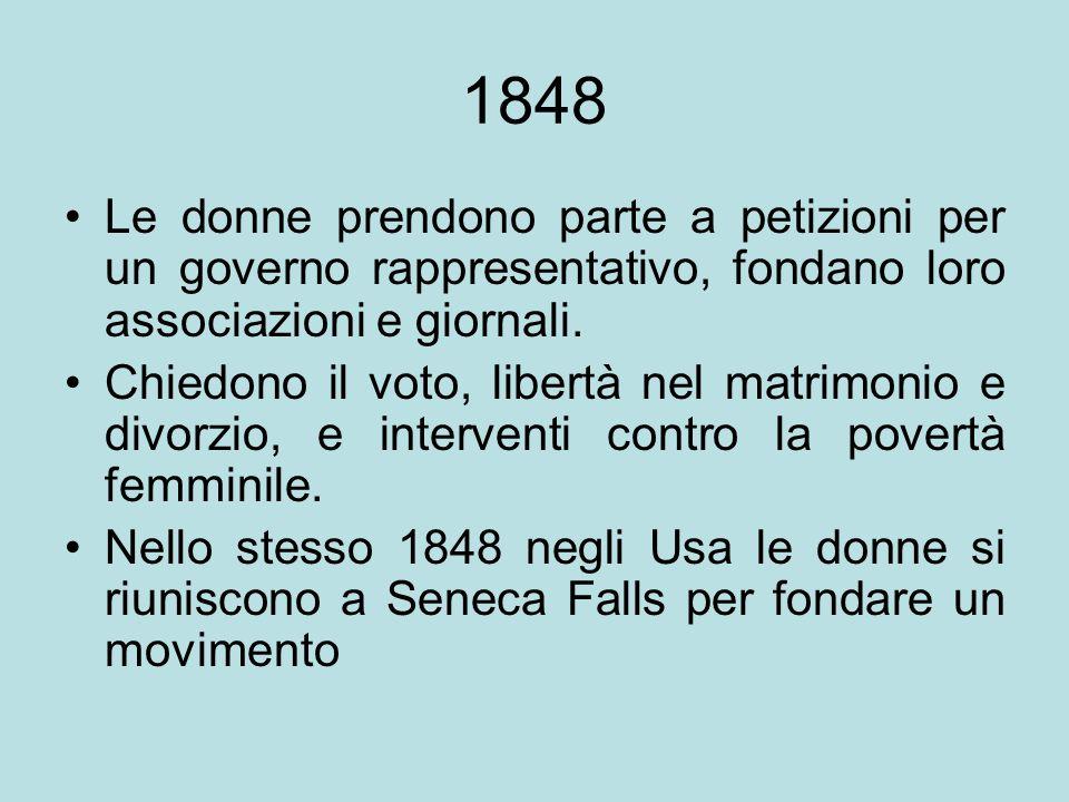 1848 Le donne prendono parte a petizioni per un governo rappresentativo, fondano loro associazioni e giornali. Chiedono il voto, libertà nel matrimoni
