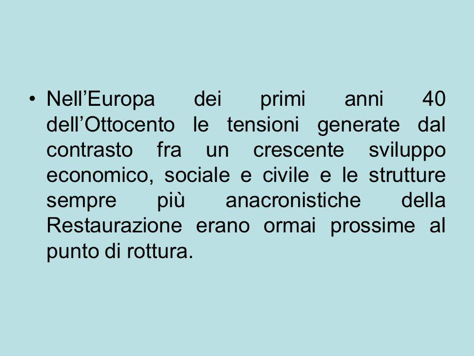 Nell'Europa dei primi anni 40 dell'Ottocento le tensioni generate dal contrasto fra un crescente sviluppo economico, sociale e civile e le strutture s