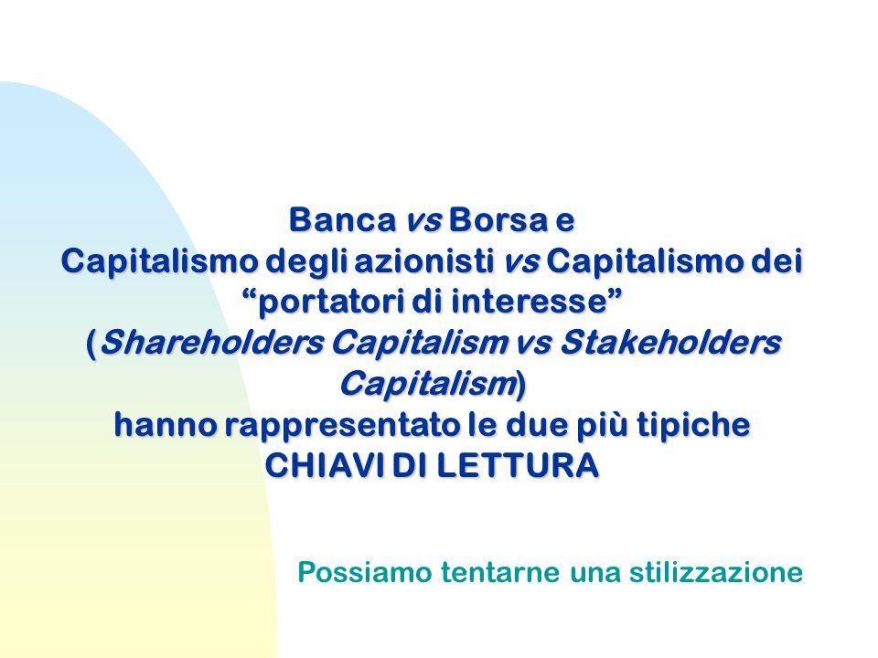 """Banca vs Borsa e Capitalismo degli azionisti vs Capitalismo dei """"portatori di interesse"""" (Shareholders Capitalism vs Stakeholders Capitalism) hanno ra"""