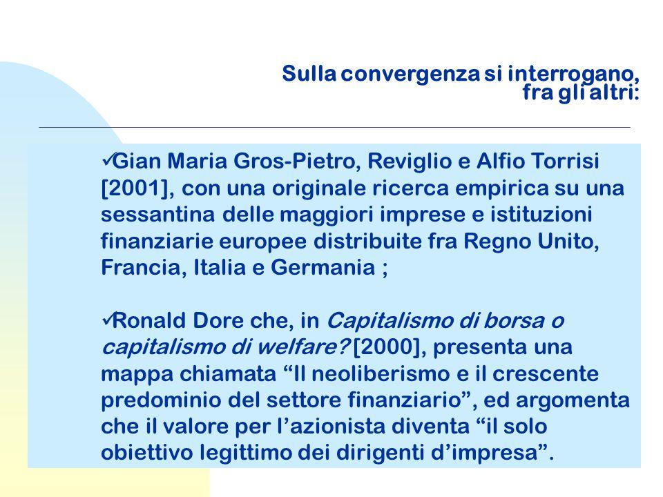 Sulla convergenza si interrogano, fra gli altri: Gian Maria Gros-Pietro, Reviglio e Alfio Torrisi [2001], con una originale ricerca empirica su una se