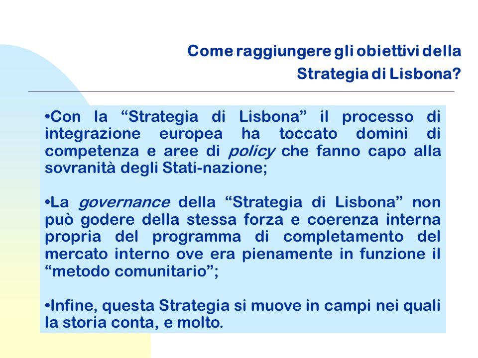"""Come raggiungere gli obiettivi della Strategia di Lisbona? Con la """"Strategia di Lisbona"""" il processo di integrazione europea ha toccato domini di comp"""