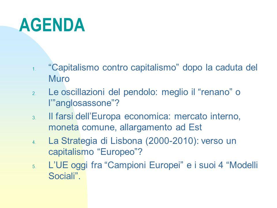 """AGENDA 1. """"Capitalismo contro capitalismo"""" dopo la caduta del Muro 2. Le oscillazioni del pendolo: meglio il """"renano"""" o l'""""anglosassone""""? 3. Il farsi"""