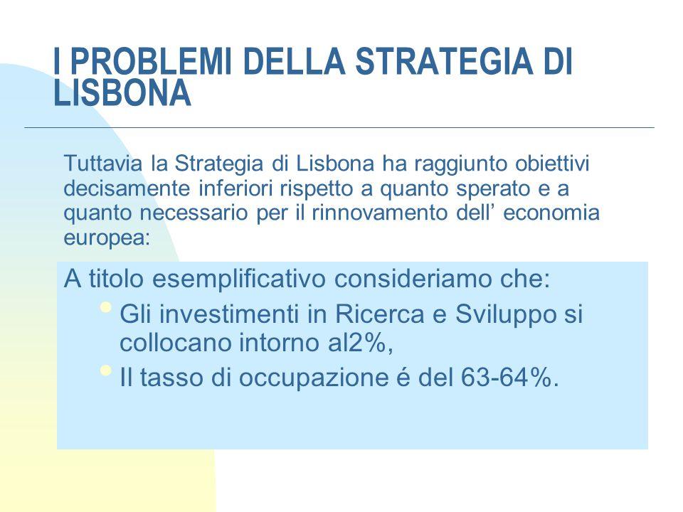 I PROBLEMI DELLA STRATEGIA DI LISBONA Tuttavia la Strategia di Lisbona ha raggiunto obiettivi decisamente inferiori rispetto a quanto sperato e a quan