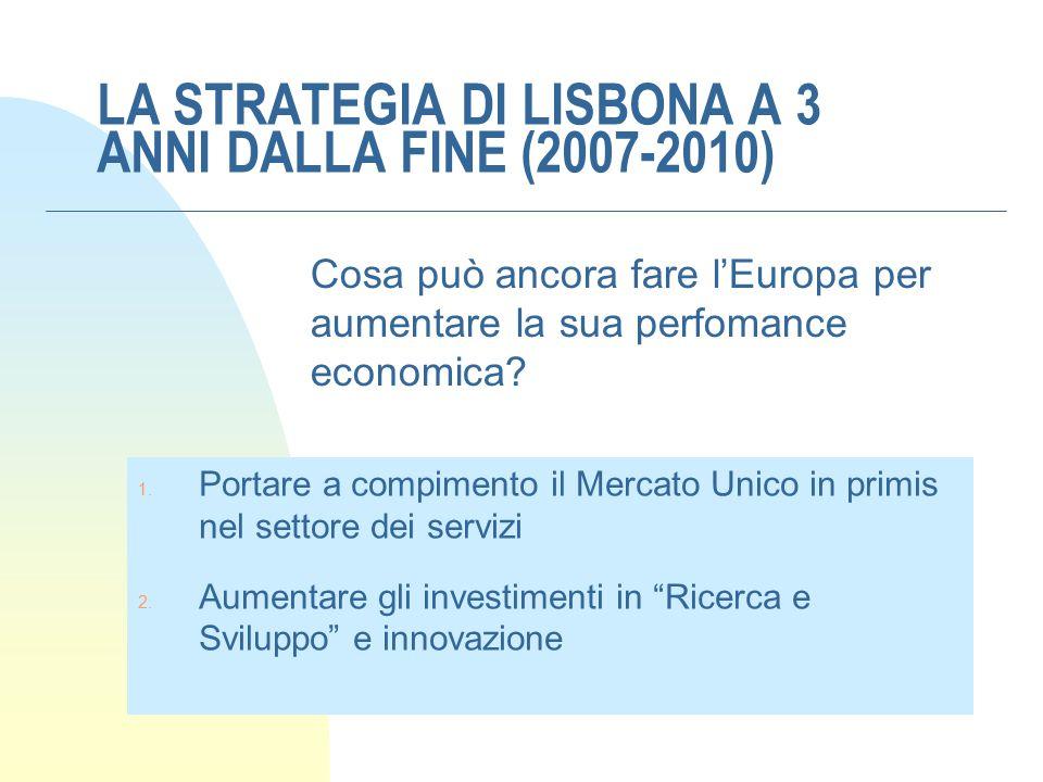 LA STRATEGIA DI LISBONA A 3 ANNI DALLA FINE (2007-2010) Cosa può ancora fare l'Europa per aumentare la sua perfomance economica? 1. Portare a compimen