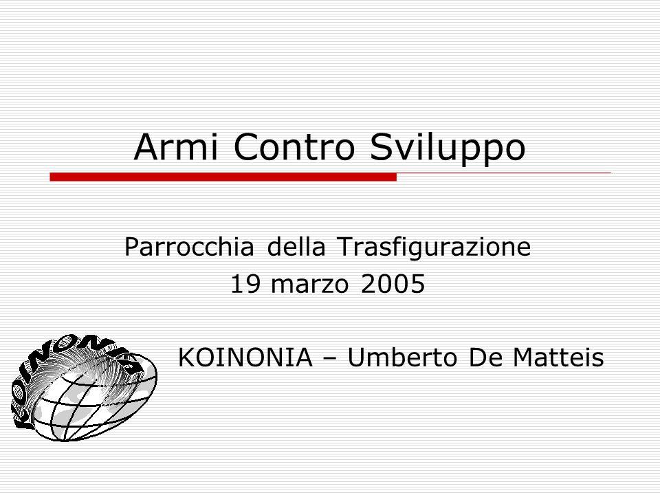 Armi Contro Sviluppo Parrocchia della Trasfigurazione 19 marzo 2005 KOINONIA – Umberto De Matteis
