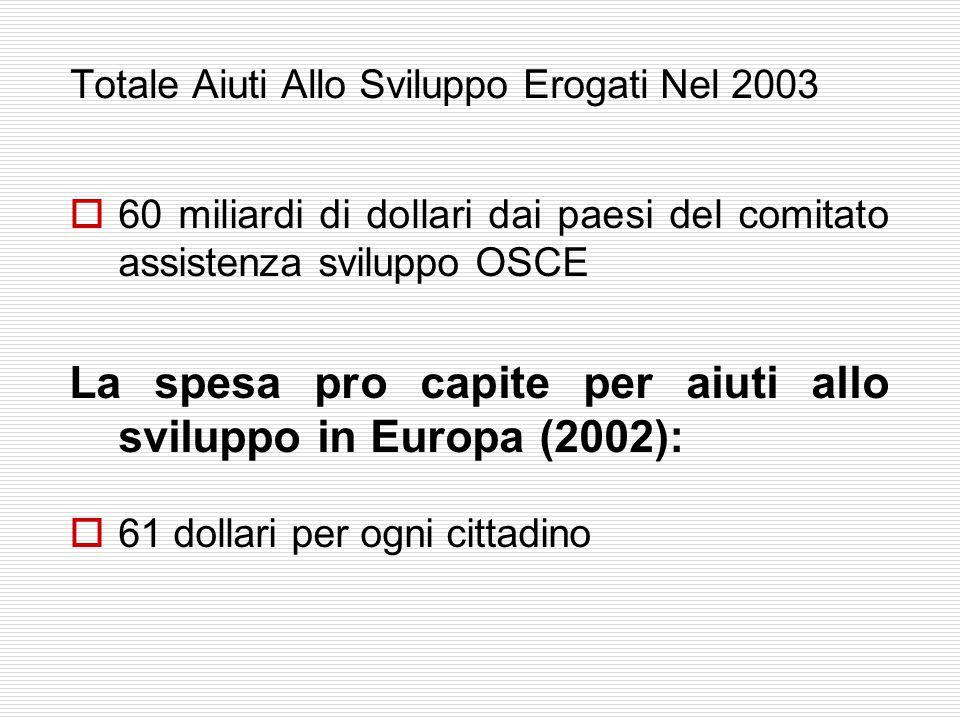 Totale Aiuti Allo Sviluppo Erogati Nel 2003  60 miliardi di dollari dai paesi del comitato assistenza sviluppo OSCE La spesa pro capite per aiuti allo sviluppo in Europa (2002):  61 dollari per ogni cittadino