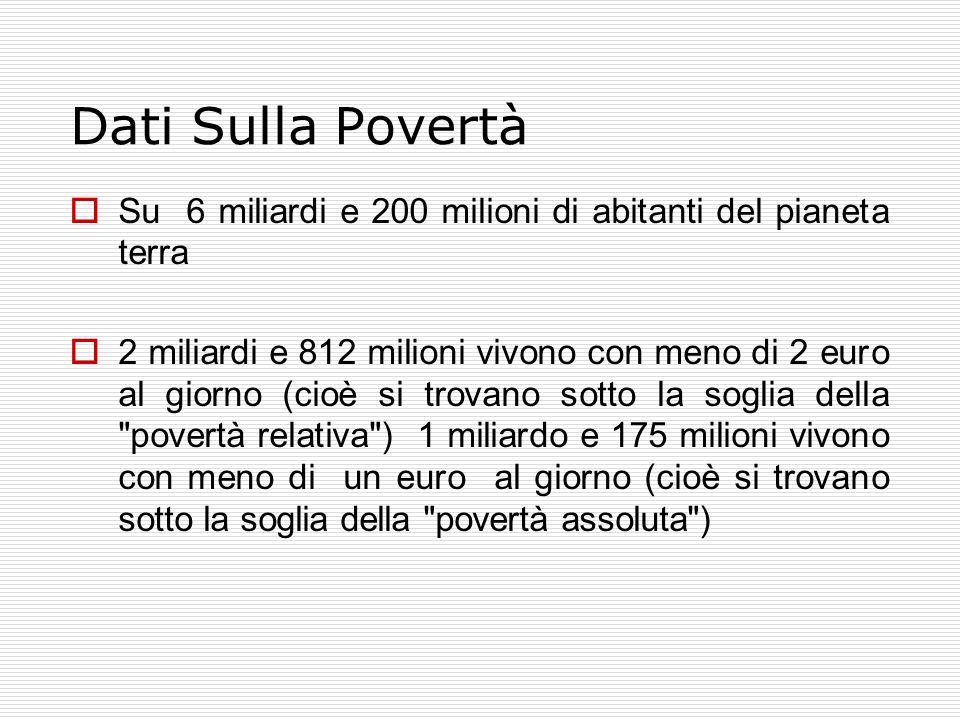 Dati Sulla Povertà  Su 6 miliardi e 200 milioni di abitanti del pianeta terra  2 miliardi e 812 milioni vivono con meno di 2 euro al giorno (cioè si trovano sotto la soglia della povertà relativa ) 1 miliardo e 175 milioni vivono con meno di un euro al giorno (cioè si trovano sotto la soglia della povertà assoluta )