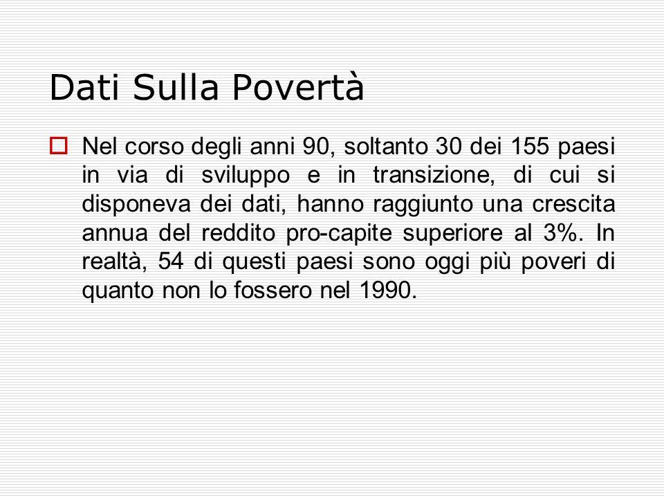 Dati Sulla Povertà  Nel corso degli anni 90, soltanto 30 dei 155 paesi in via di sviluppo e in transizione, di cui si disponeva dei dati, hanno raggiunto una crescita annua del reddito pro-capite superiore al 3%.