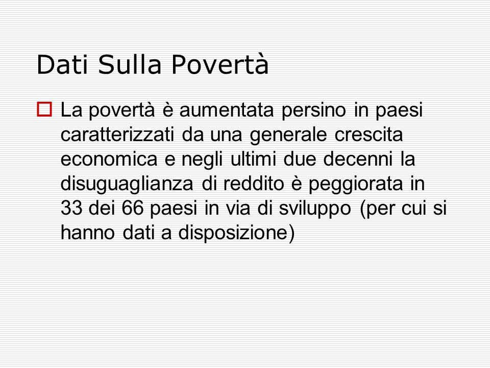 Dati Sulla Povertà  La povertà è aumentata persino in paesi caratterizzati da una generale crescita economica e negli ultimi due decenni la disuguaglianza di reddito è peggiorata in 33 dei 66 paesi in via di sviluppo (per cui si hanno dati a disposizione)