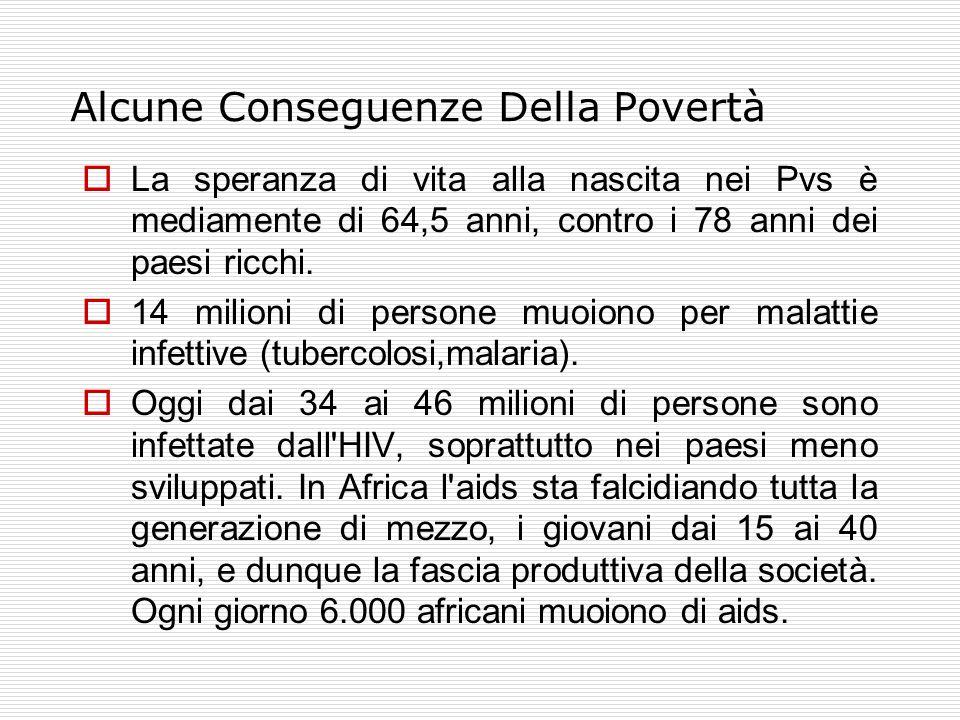 Alcune Conseguenze Della Povertà  La speranza di vita alla nascita nei Pvs è mediamente di 64,5 anni, contro i 78 anni dei paesi ricchi.