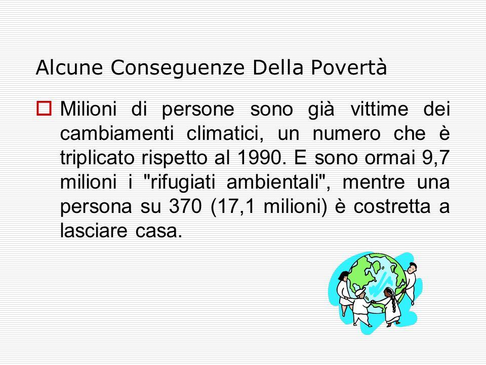 Alcune Conseguenze Della Povertà  Milioni di persone sono già vittime dei cambiamenti climatici, un numero che è triplicato rispetto al 1990.