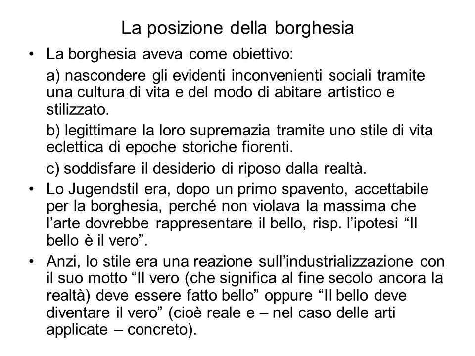 La posizione della borghesia La borghesia aveva come obiettivo: a) nascondere gli evidenti inconvenienti sociali tramite una cultura di vita e del modo di abitare artistico e stilizzato.