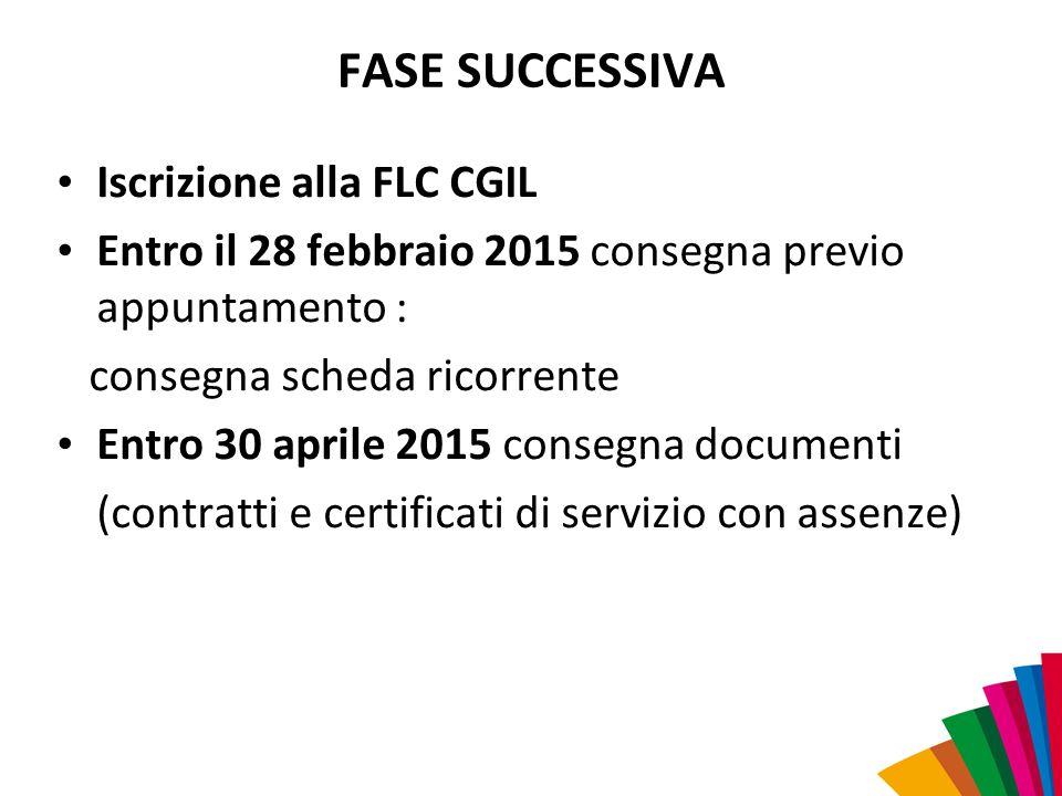 FASE SUCCESSIVA Iscrizione alla FLC CGIL Entro il 28 febbraio 2015 consegna previo appuntamento : consegna scheda ricorrente Entro 30 aprile 2015 cons