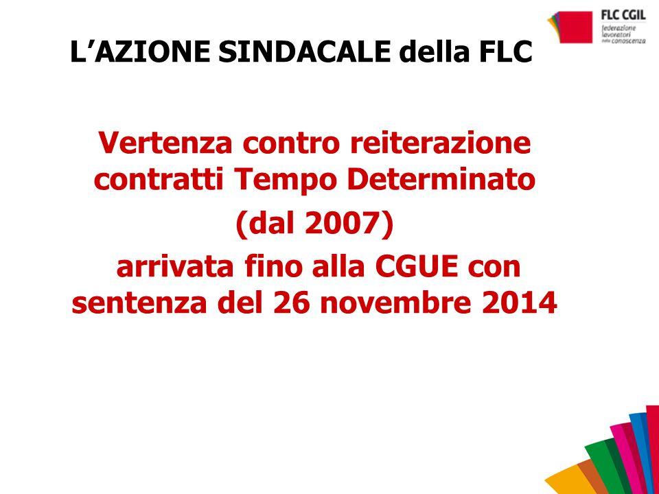 L'AZIONE SINDACALE della FLC Vertenza contro reiterazione contratti Tempo Determinato (dal 2007) arrivata fino alla CGUE con sentenza del 26 novembre