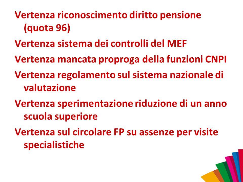 Vertenza riconoscimento diritto pensione (quota 96) Vertenza sistema dei controlli del MEF Vertenza mancata proproga della funzioni CNPI Vertenza rego