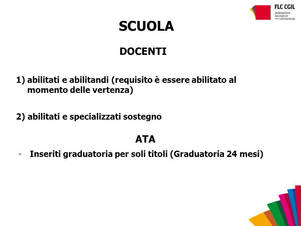SCUOLA DOCENTI 1)abilitati e abilitandi (requisito è essere abilitato al momento delle vertenza) 2) abilitati e specializzati sostegno ATA -Inseriti g